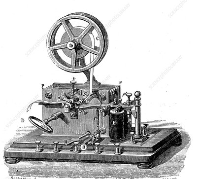 Early electric telegraph receiver, 19th Century illustration