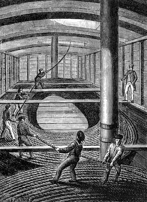 Underwater telegraph cable construction, 19th C illustration