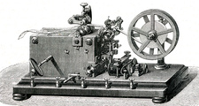 Early telegraph printing receiver, 19th C illustration
