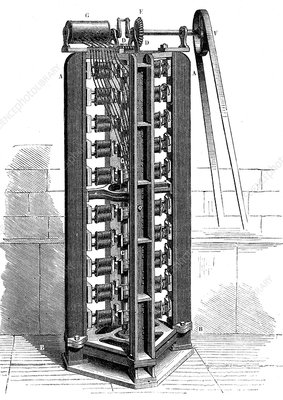 Early electric engine, 19th Century illustration
