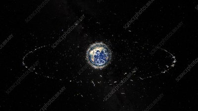 Satellites and space debris, illustration