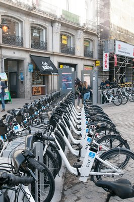 Madrid city bicycle rental station