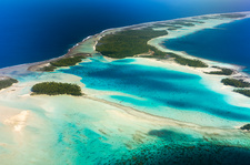 Tropical island, French Polynesia, aerial photograph