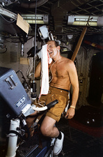 Exercise bike training for Skylab, 1973