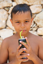 9-Year-Old Boy Drinking
