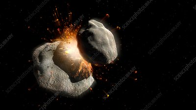 Collision between two asteroids