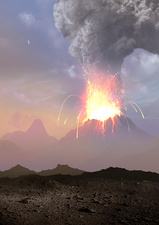 Artwork of Volcanic Eruption
