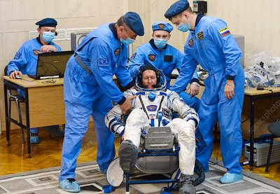 Tim Peake during ISS 46 launch preparations