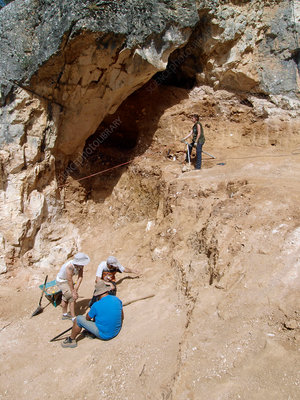 Surveying at Cueva Fantasma fossil site, Spain