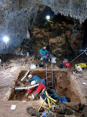 Excavations at Cueva Mayor fossil site, Spain
