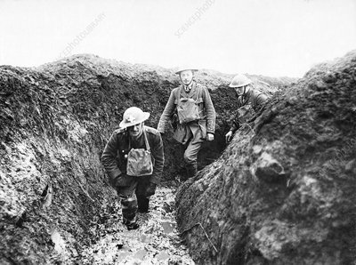 British soldiers in muddy trenches, First World War