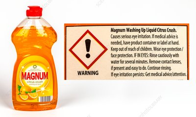 Hazard label on washing up liquid.