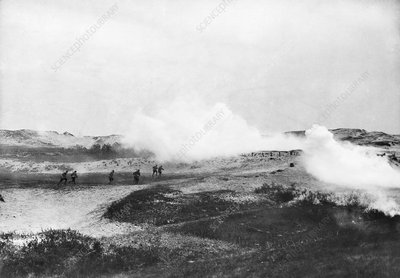 Gas attack in sand dunes in Flanders, First World War
