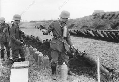 Germans training with gas shells, First World War