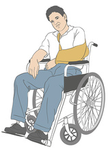 Man in wheelchair, illustration