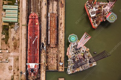 Oil rigs in shipyard, aerial photograph