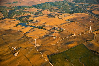 Wind turbines, Spain, aerial photograph