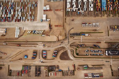 Container port, aerial photograph