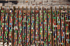 Shipping containers, aerial photograph