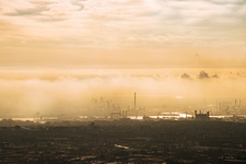 Smog over Rotterdam, Netherlands, aerial photograph