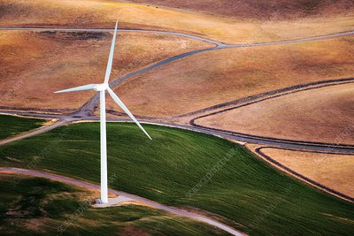 Wind turbine, California, USA, aerial photograph