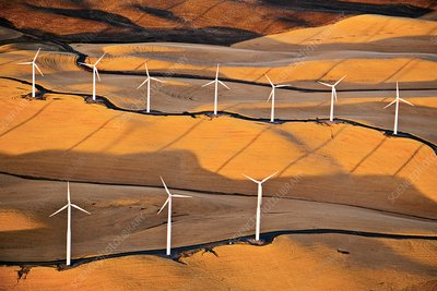 Wind turbines, California, USA, aerial photograph