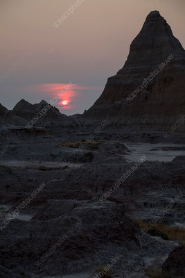Sunset over Badlands National Park, South Dakota, USA