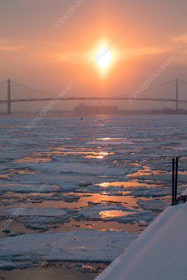 Detroit River in winter, USA