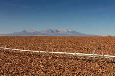 Farm irrigation system and Abajo Mountains, USA