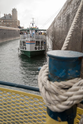 Boats in Soo Locks, Michigan, USA