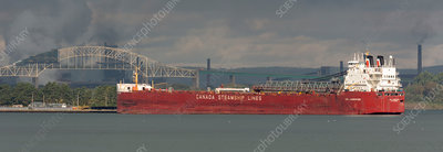 Cargo ship, Soo Locks, Michigan, USA