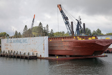 Barge in dry dock, Michigan, USA