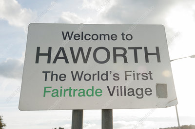 Haworth village sign, Yorkshire, UK