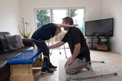 Cerebral palsy patient doing exercises