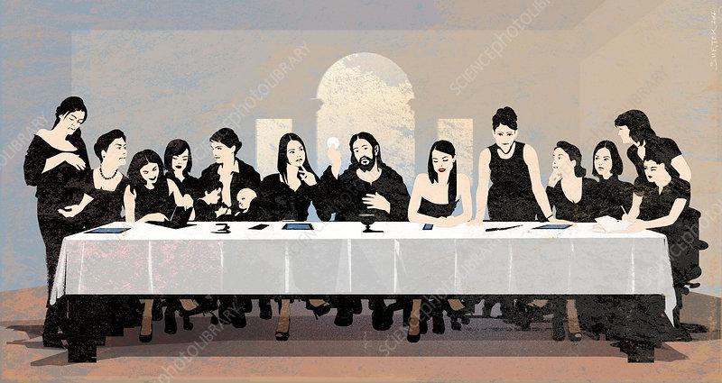 Female Last Supper, conceptual illustration