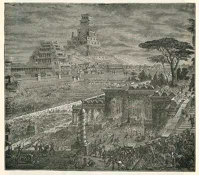 Persian capture of Babylon, 19th-century illustration
