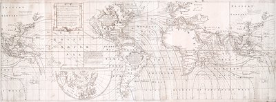 Halley's global magnetic chart, 1744 edition
