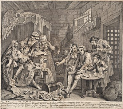 Debtor's prison by Hogarth, 18th century