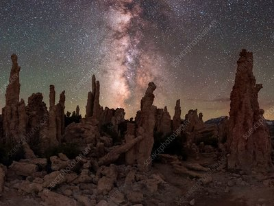 Milky Way over limestone formations, California, USA