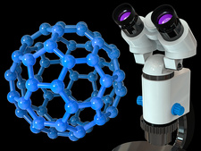 Buckyball and microscope, illustration