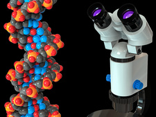 DNA and microscope, illustration