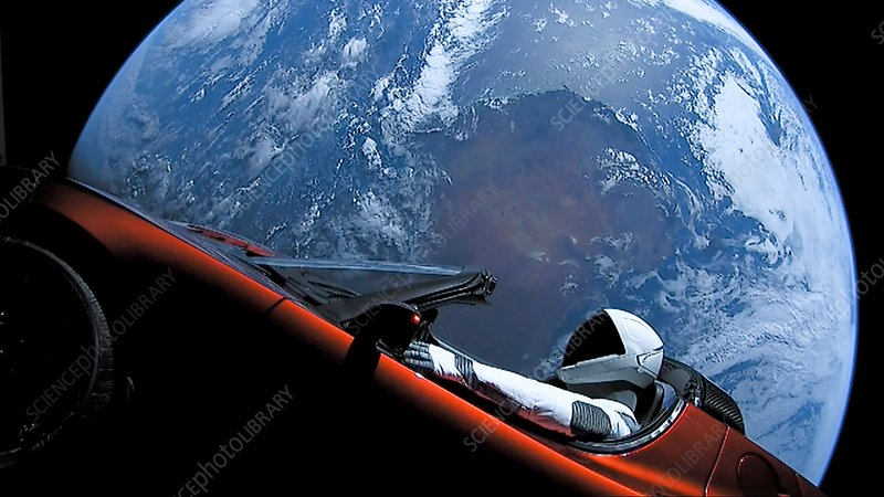 Tesla Roadster and mannequin in space