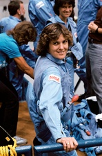 Astronaut Kathryn Sullivan in training, 1984