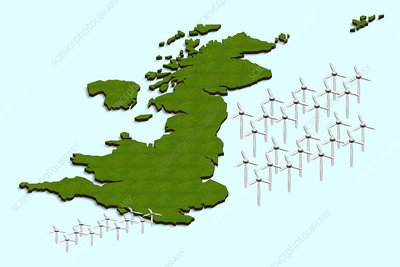 British offshore wind turbines, illustration