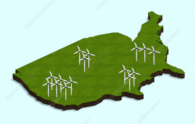 US wind turbines, illustration