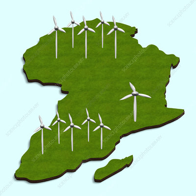 African wind turbines, illustration