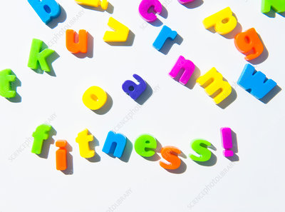 Fridge magnets spelling 'fitness'