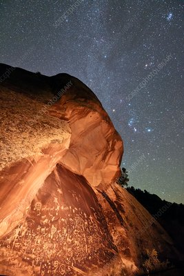 Night sky over Newspaper Rock, USA