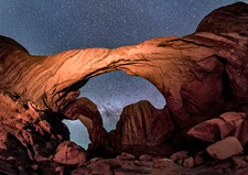 Night sky over Double Arch, Utah, USA