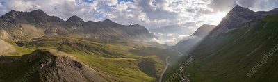 Albula Pass in the Swiss Alps, aerial photograph